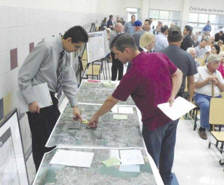 A capacity crowd at Phyllis NeSmith Elementary School in Lavon Thursday, to hear a presentation by the North Central Texas Council of Governments concerning the start of a transportation study for the region between Lavon and Greenville.