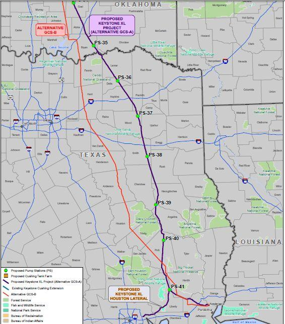 The eastern (purple) route is the one being built by TransCanada.