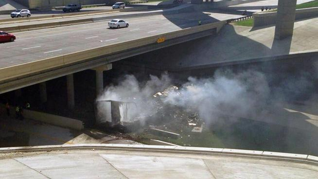 A semi-trailer truck crashed after driving off a ramp on Highway 161 under I-30 in Grand Prairie.
