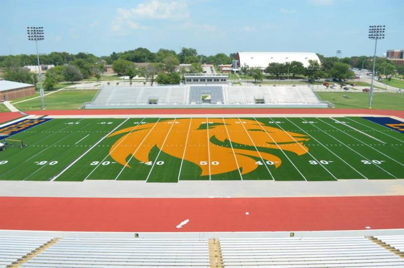Memorial Stadium at Texas A&M University-Commerce has a midfield logo that's attracted national attention.