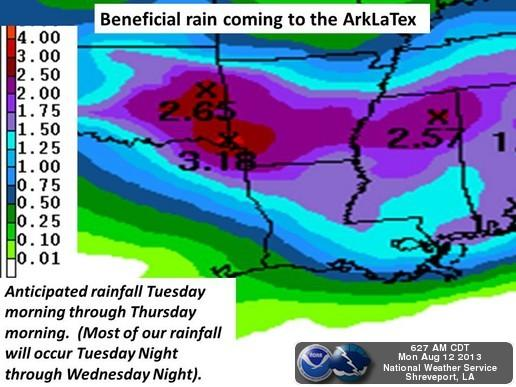 Northeast Texas should receive between one and three inches of rain later this week.