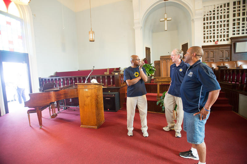 Dr. Jones stands in a church significant to the start of the civil rights movement alongside Dr. Lavelle Hendricks and Mr. Derryle Peace in the spring of 2013.