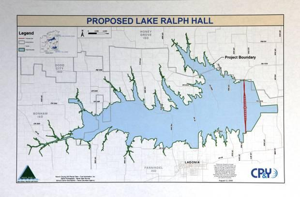 The lake will be built north of Ladonia.
