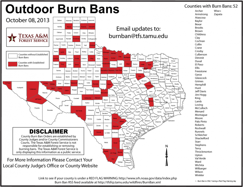 Collin, Hunt and Rockwall counties still have bans in place.