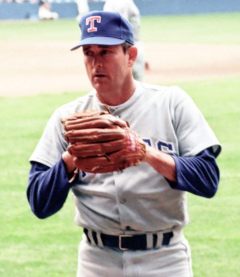 Ryan as a Texas Rangers pitcher in 1990.