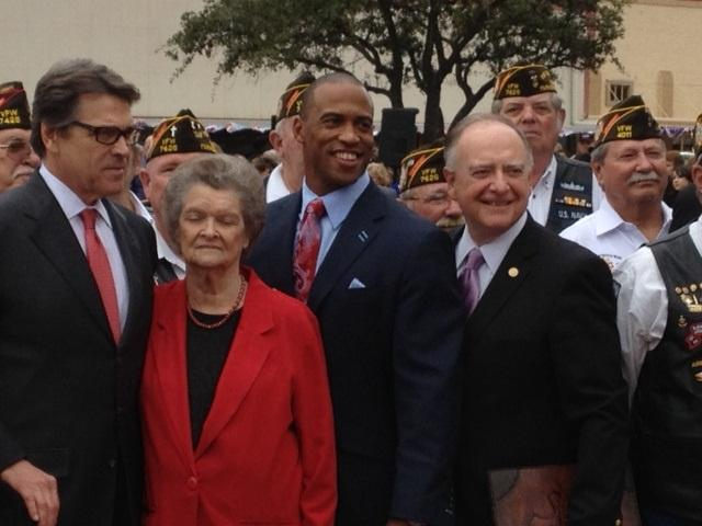 Gov. Rick Perry, Nadine Lokey (Audie Murphy's sister), Rep. Scott Turner (R-Rockwall) and Rep. Dan Flynn (R-Canton) at Tuesday's ceremony in Farmersville.