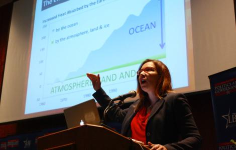 "Texas Tech climatologist Katharine Hayhoe speaking at today's ""Climate Resilience and Adaptation Strategies: A Capital Area Symposium."""