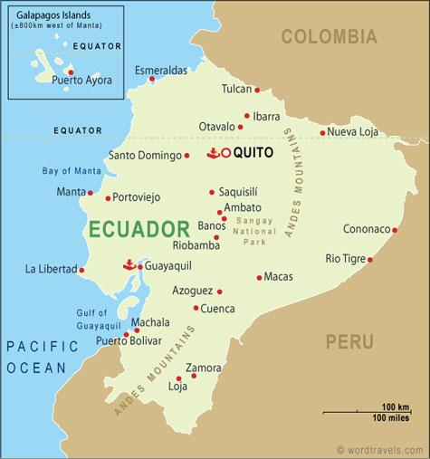 The Republic of Ecuador is nastled between Columbia, Peru, and The Pacific.