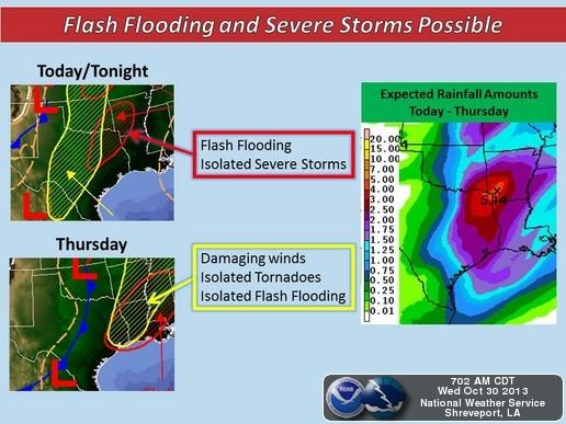 """The Texarkana area is forecast to receive about 5"""" of rain."""
