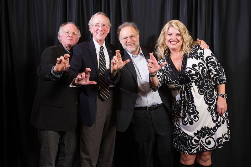 Ben Cohen and Jerry Greenfield pose with A&M-Commerce President Dan Jones and wife, Jalinna.