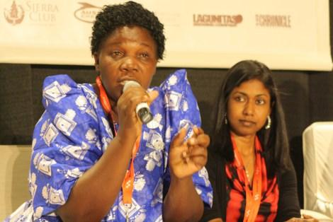Constance Okollet describes the plight of her Ugandan village at SXSW ECO as Thilmeeza Hussain of the Maldives looks on.