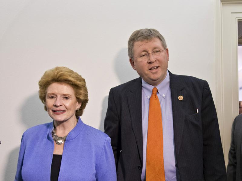 Senate Agriculture Committee Chairwoman Sen. Debbie Stabenow, D-Mich., and House Agriculture Committee Chairman Rep. Frank Lucas, R-Okla., during a Dec. 4 break in negotiations on the farm bill.