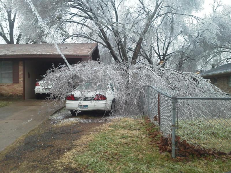 Power lines went down throughout the region during the ice storm.