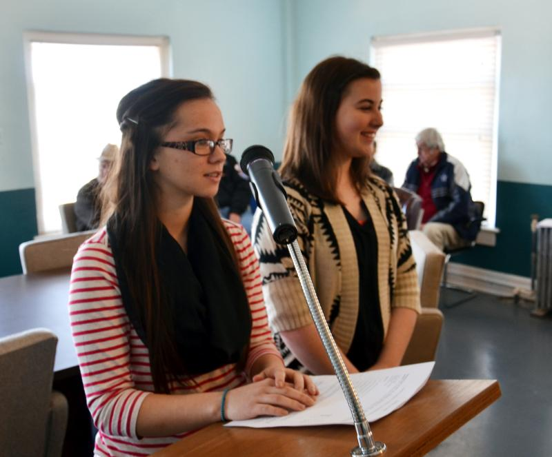 Cooper 4-H President Sally Chambliss and Vice President Rilee Purviance spoke on behalf of their program before the Delta County Commissioners Court on Monday.