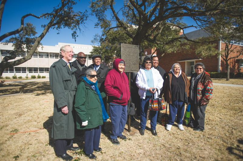 Caddo Tribal Council members and university officials at the Jan. 28 ceremony.