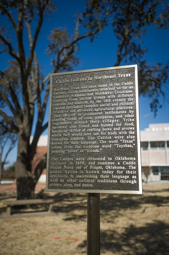 The plaque honoring the Caddo heritage of Northeast Texas.