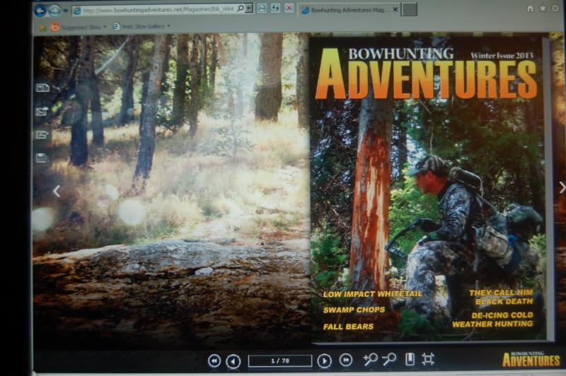 Digital magazines are very popular now and will soon be the way most the majority of us read our favorite magazines. Bowhunting Adventures is one of the digital outdoor publications for which Luke writes.