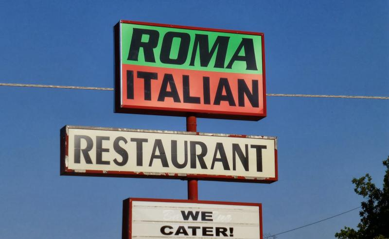 Sign above an Oklahoma Italian Restaurant, owned by ethic Albanians