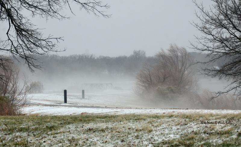 Heavy sleet cooled the ground off quickly, causing foggy patches