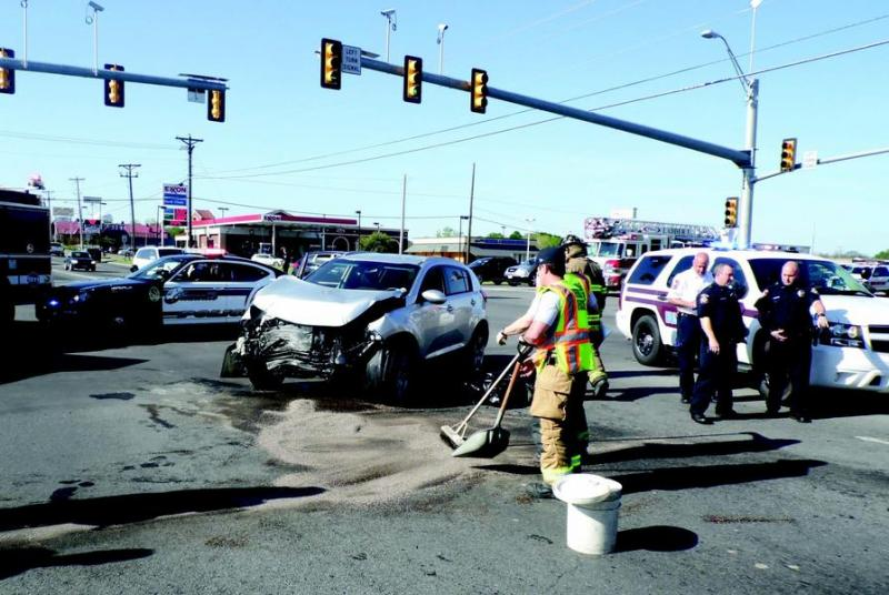 The driver of this Kia Sportage received minor injuries this morning in a collision with an ambulance at the intersection of Joe Ramsey Boulevard and Wesley Street.