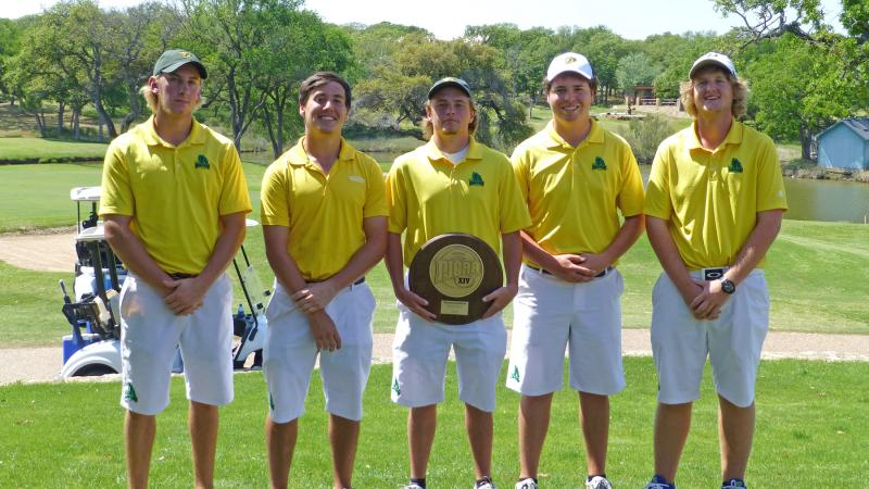 Paris Junior College's golf team became Region XIV champions on April 22 and qualified for the national tournament in Burlington, Iowa, May 13-16. From left are Oliver Stephens, Ontario Canada, Jeremy Salas, Zac Oliver, Collin Thompson and Tylar Dunbar.