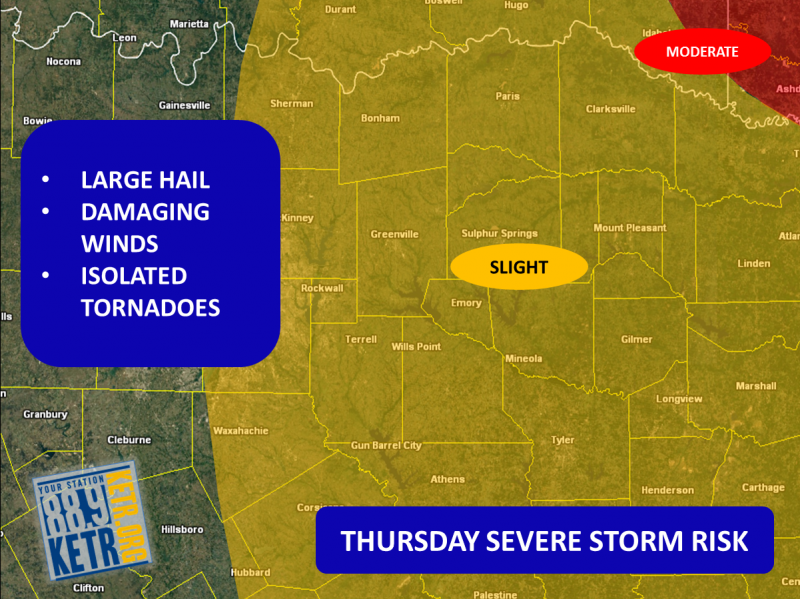 Severe weather is possible on Thursday for NE Texas.