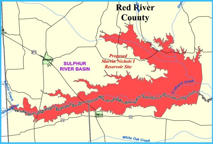 Most of the Marvin Nichols Reservoir would be in Red River County.