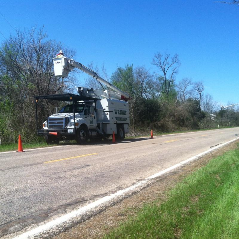 An Oncor crew was dispatched from Southeast Texas early on the morning of April 4 to assist with repairing downed lines.