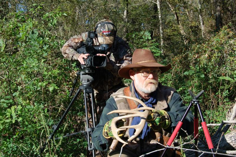 "Larry ""Mr. Whitetail"" Weishuhn being filmed for his TV show  ""Trailing the Hunters Moon"""