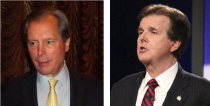 David Dewhurst and Dan Patrick take jabs at each other at runoff debate on May 7.