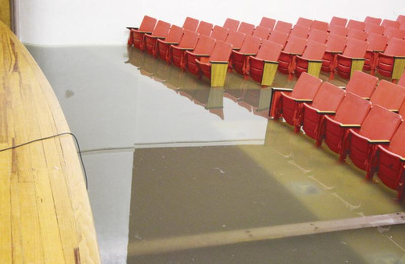 The front portion of the auditorium at Greenville Middle School experienced flooding during Thursday's storm.