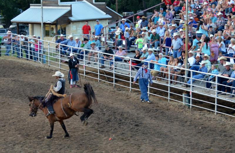 Clowns and the audience look on as a rider entertains at the 2014 Cooper Rodeo.