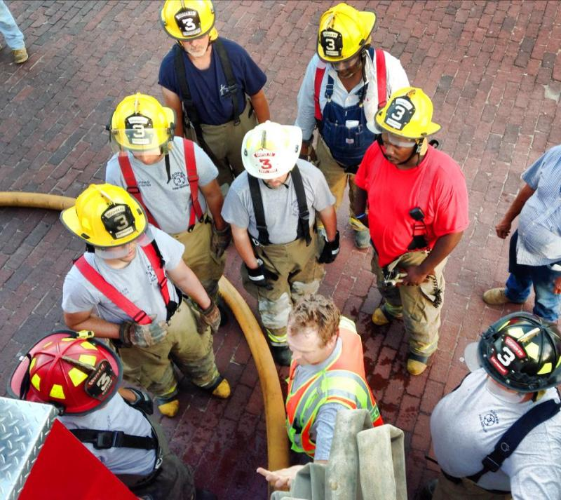 Cooper Volunteer Fire Department trains for duty on the Square in Cooper.