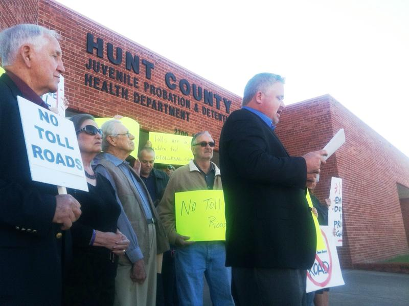 Bryan Slaton of Royse City and over 30 other anti-toll road activists gathered in Greenville on Oct. 14.