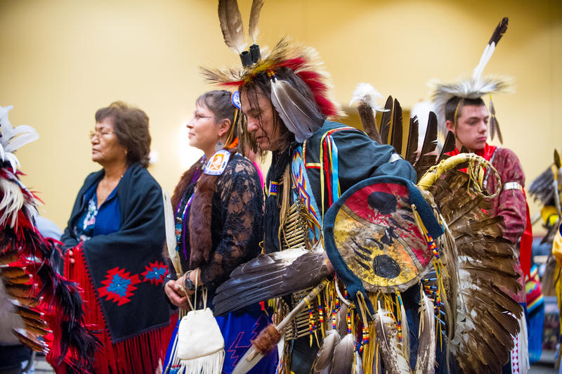 A Northern Traditional dancer dances at the Benefit Powwow in Commerce on Nov. 8