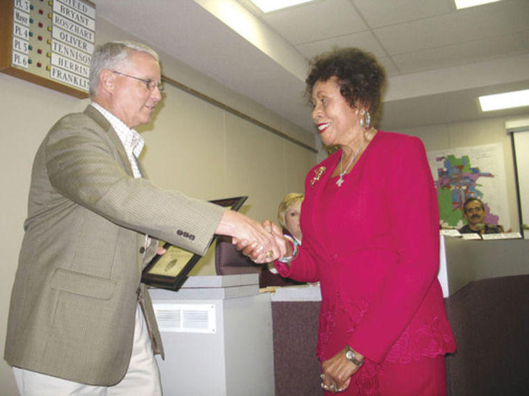 Dr. Myrna Gilstrap, shown here with former Greenville mayor Tom Oliver in 2009, passed away on Thursday.