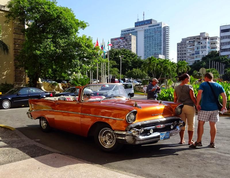 1950's Chevrolet convertible outside of Hotel de Nacional, Havana