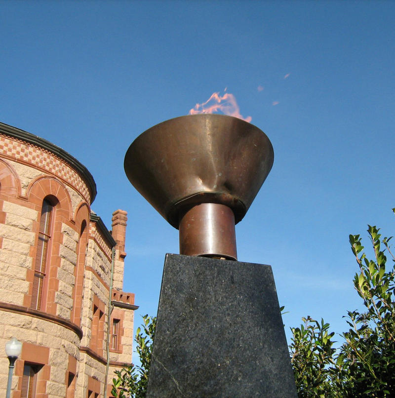Damage to the copper bowl of the Eternal Flame in Hopkins County.