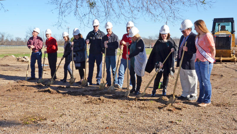 North Hopkins ISD trustees and administration break ground on new elementary Monday morning.