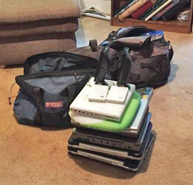 Authorities recovered many computer laptops at a residence in Ladonia during a search.