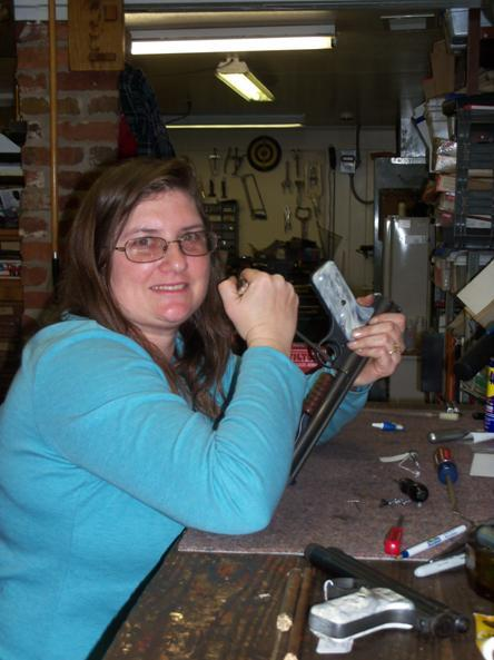 Sue Smith working on an Airgun. Sue and he husband Tim are editors of Airgun Hobbyist Magazine.