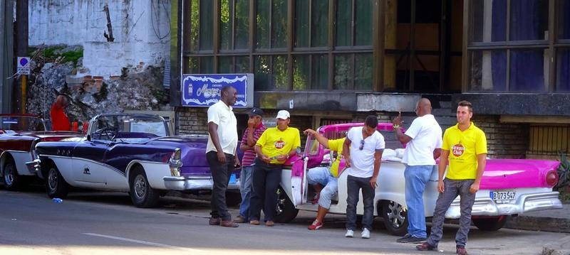 Taxi drivers waiting outside Hotel Nacional in Havana, Cuba