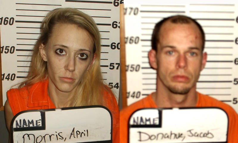 April Ann Morris and Jacob Earl Donahue are behind bars at the Delta County Jail following the manhunt when they fled the scene.