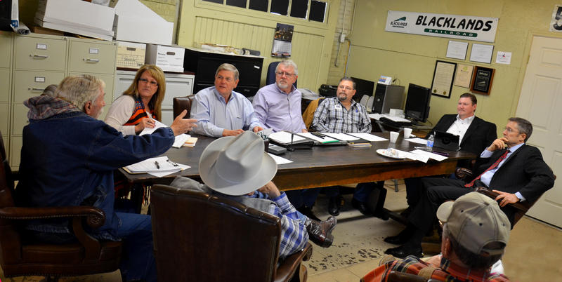 Harley Davis speaks during a discussion at the NETEX Board meeting Wednesday at the Blacklands Railroad Office in Sulphur Springs.