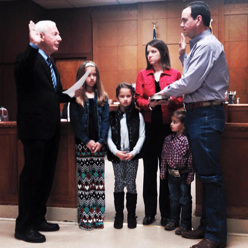 Jason Murray took the oath of office before a courtroom full of Delta County citizens on Jan. 1, 2015 by Hopkins County Judge Robert Newsom.
