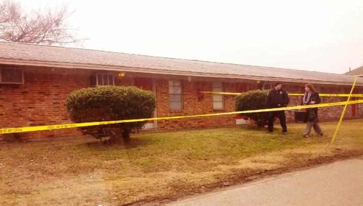 Commerce Police have marked off a possible crime scene on the campus of Lamplight Lodge Apartments in Commerce.