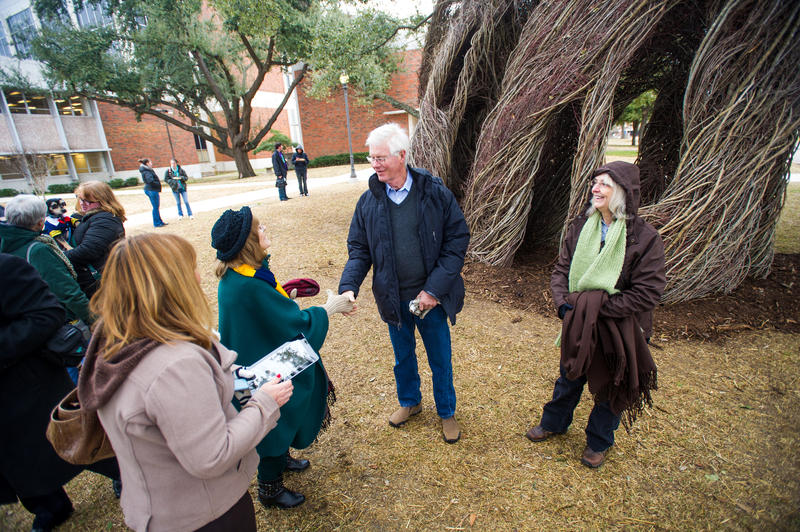 "Patrick Dougherty greets visitors at the Feb. 5 reception for ""Deep in the Heart."""