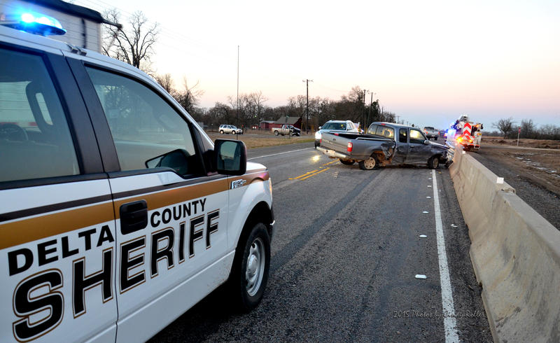 Two-vehicle accident slowed State Highway 24 traffic through the construction zone.