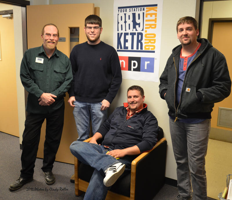 Members of Sulphur Springs band Southern Soul during their visit to the KETR Studios. (Left to right, Matt Meinke, Jacob Mazoch, Adam Hall (sitting) and Ryan Brown.