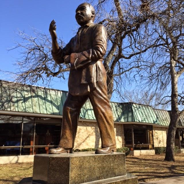 Statue of Dr. Martin Luther King at the MLK Center in Dallas, Texas.